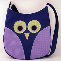 Owl Purse Purple Owl Tote Bag with Adjustable Strap