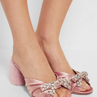 Miu Miu - Crystal-embellished satin and shearling mules