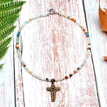 Unisex Natural Amazonite Stone Jesus Pendant Necklace