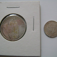 2 World Sterling Silver Coins including 1890 Great Britain Shilling with Queen Victoria and a 1943 Newfoundland 5 Cents with King George VI