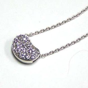 .925 Sterling Silver Clear Cubic Zirconia Rhodium Plated Bag Pendant Necklace 18 Inches
