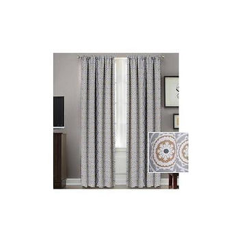 Better Homes And Gardens Medallion Room Darkening Curtain Panel, Gray 52In X 63