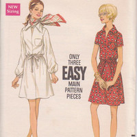 Vintage 1970s pattern for easy pullover shirt dress with elastic waist, long or short sleeves misses size 14 Butterick 5613 UNCUT