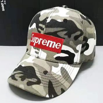 Supreme Fashion New Embroidery Letter Camouflage Women Men Cap Hat Gray