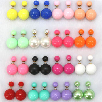 Jooyoo Push-back Romantic 6 Colors Silver Plated Pearl Stud Earrings For Women Hs-12m4