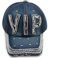 TFJ Men Women Blue Denim Unisex Hip Hop Silver VIP 3d Fashion Baseball Cap Hat