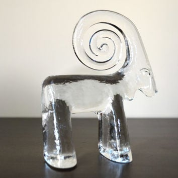 Vintage Kosta Boda Glass Mountain Goat Ram by goodygirlred on Etsy