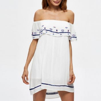 Rayon embroidered white sexy dress