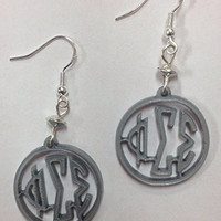 "Phi Sigma Sigma Sorority Greek ""Mini"" Earrings - on sterling silver earwires, officially licensed"