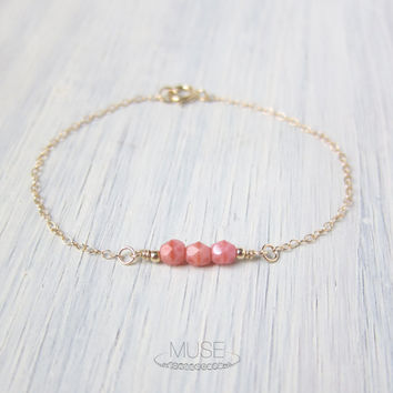 Coral Beaded Bracelet - 14k Gold Filled, Tiny Gold Bracelet, Small Bead Bracelet, Bridesmaid Bracelet, Minimalist Bracelet