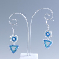 Hexagon and Triangle Spike Earrings, Turquoise & Blue, 378-1er-trq