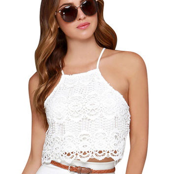 Halter Square Neck Lace Cropped Top