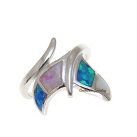 BLUE WHITE PINK TRICOLOR INLAY OPAL RING HAWAIIAN WHALE TAIL 925 STERLING SILVER