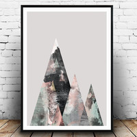 Watercolor print, Geometric art, Abstract wall art, Scandinavian art, Home decor, Watercolor art, Mountains print, Wall prints, modern art