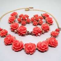 Coral Pink Carved Celluloid Rose Flower Vintage Jewelry Set, Necklace Bracelet Clip on Earrings, Gold Tone, Mid Century 1950s 50s