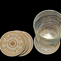 12 Gauge Shotgun Shell Wooden Coaster Set of 4, Men's Man Cave Hunting/Shooting Gift Set