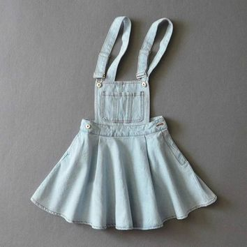 Japanese Strap Denim Dress Summer Detachable Denim Dress Women Kawaii Harajuku Dress