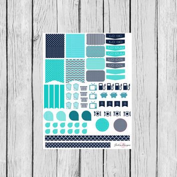 Navy Monthly Assorted Planner Sticker Set: Erin Condren, Filofax, Kikki K, Plum Paper Planner