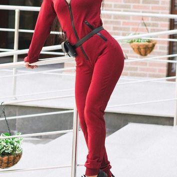 New Red Pockets Zipper Hooded High Waisted Sports Long Jumpsuit