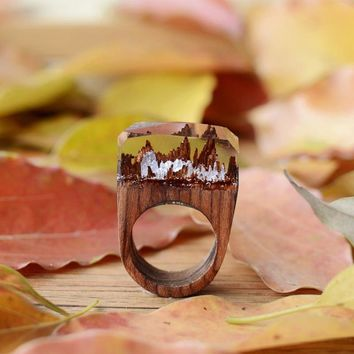 Handcrafted Silver Snow Mountain - Secret World in Wooden Rings for Women & Men Resin Jewelry