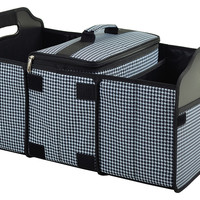 Houndstooth Trunk Organizer w/ Three Sections & Insulated Cooler