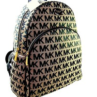 New Michael Kors MK Logo Signature Backpack Book Bag Abbey Black Beige