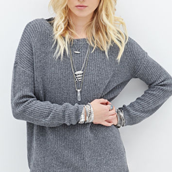 FOREVER 21 Layered Lace Crew Neck Sweater Grey/Cream