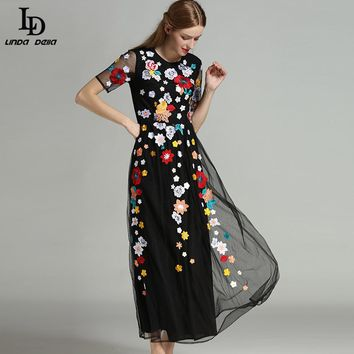 High Quality Newest  Runway Maxi Dress Women's Short sleeves Black Vintage Noble Mesh Gauze Embroidered Long Dress