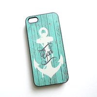 Anchor iPhone 5 Case Turquoise Rustic Wood Fence God is My Anchor  Ships from USA