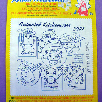 "Aunt Martha's ""Animated Kitchenware"" Hot Iron Transfer Pattern 3928 for Embroidery, Fabric Painting, Needle Crafts"