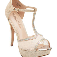 Vice-121 Crystal T-Strap Lace Heel