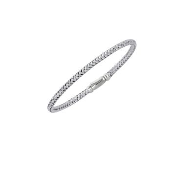 Silver Rhodium Finish 3.60mm Shiny Basketweave Bangle with Fancy Clip Lock