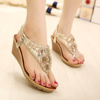 2015 New Ladies Shoes Fashion Rhinestone Beaded Summer Party Shoes Boho Sandals Women Wedge Sandals Casual Shoes = 1928372804