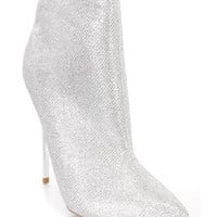 Silver Pointed Toe Single Sole Booties Glitter