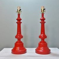 Set of Red Modern Table Lamps, Red Lamp, Pair of Lamps, Modern Lighting, Table Lighting