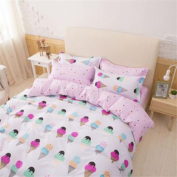 Pretty Pink 3pcs Bedding Sets for Girls Ice Cream Printed 4pcs Duvet Cover Set Pillowcases Flat Sheet King Bed Linen