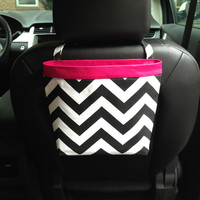 CAR CADDY CHEVRON Black and White, Women, Car Litter Bag, Auto Accessories, Auto Bag, Car Organizer, Car Caddy