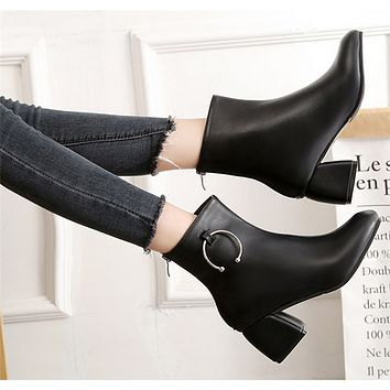 Women Simple All-match Fashion Round-toe Rough Heel Short Boots Heels Shoes