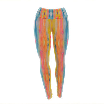 "Nika Martinez ""Boho Tie Dye"" Teal Orange Yoga Leggings"