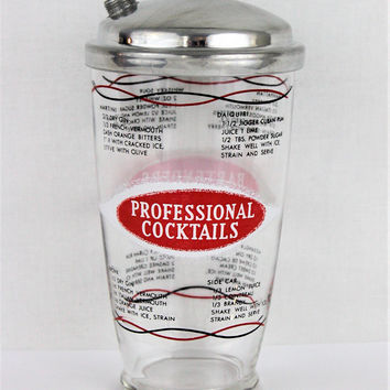 Vintage 1960s Glass Cocktail Shaker with Drink Recipes, Professional Cocktails
