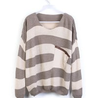 Coffee Striped Bat Long Sleeve Loose Sweater