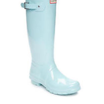 HUNTER ORIGINAL TALL GLOSS PALE MINT BLUE WELLINGTON BOOTS Welly BRAND NEW
