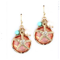 Star Gaze Coral Turquoise Accented Starfish Highlight Dangle Earrings
