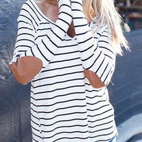 Women's Long Sleeved Casual Shirt - Black White Stripes / Camel Elbow Patches
