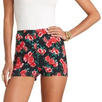 Floral Print High-Waisted Shorts by Charlotte Russe - Pink Combo