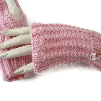 Knit Wrist Warmers, Knit fingerless gloves, Pink Gloves, Autumn Accessories, Fall Accessories