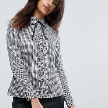 QED London Gingham Frill Tie Shirt at asos.com