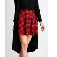 Red Black Tartan Plaid Quilted Zipper Back Skater A Line Flare Mini Skirt