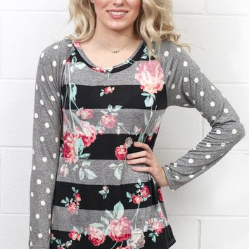 Floral Tonal Stripes w/ Polka Dot Sleeves {Black Mix}