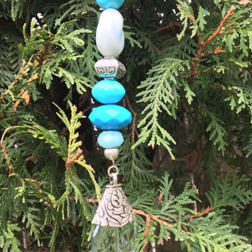 Blue Crystal Ornament, Gift Idea, Christmas Ornament, Sun Catcher, Beaded Hanging Pendant, Window Decoration, Garden Decor, Window Charm